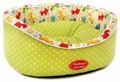 Лежак для кошек, для собак Родные места Премиум №2 Горошек с собачками (3428755/3428717) 49х43х17 см