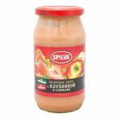 Пюре Spilva яблочное с клубникой и сливками, банка 500 г