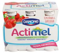 Кисломолочный напиток Actimel земляника-шиповник 2.5%, 100 мл, 6 шт.