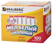 BRAUBERG Мел белый школьный 100 шт. (223550)
