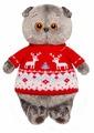 Мягкая игрушка Basik&Co Кот Басик в свитере с оленям�
