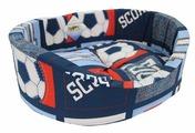 Лежак для собак Бобровый Дворик с бортиком Футбол №1 42х35х16 см