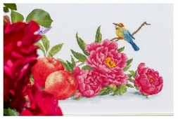 Золотое Руно Набор для вышивания нитками и бисером Яблоки и пионы 15,5 х 39 см (ОЛ-013)