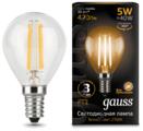 Лампа светодиодная gauss 105801105, E14, G35, 5Вт