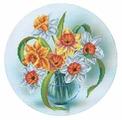 Канва для вышивания с рисунком Alisena Нарциссы в вазе вышивка бисером В1147 25 х 25 см