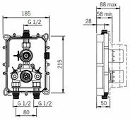 Термостатический двухрычажный смеситель для душа Oras Optima 7187 + 7127