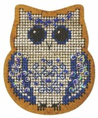 Созвездие Набор для вышивания крестом на основе Новогодняя игрушка Сова 6,5 х 7,5 см (ИК-013)
