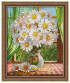 Алмазная живопись Набор алмазной вышивки Ромашки у окна (АЖ-1768) 40х50 см