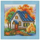 Алмазная живопись Набор алмазной вышивки Осенний домик (АЖ-1565) 15х15 см