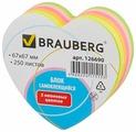 BRAUBERG Блок самоклеящийся Неоновый в форме сердца (126690)