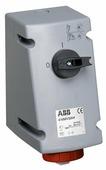 332 MVS6W Розетка для монтажа на поверхность с выключателем и блокировкой 32A, 3P+E, IP67 АВВ, 2CMA167879R1000