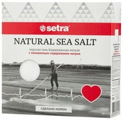 Setra Соль морская йодированная мелкая с пониженным содержанием натрия, 500 г