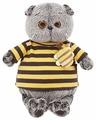 Мягкая игрушка Basik&Co Кот Басик в полосатой футболке с пчелкой 22 см