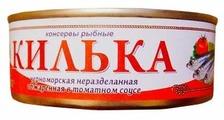 Пролив Килька черноморская неразделанная обжаренная в томатном соусе, 240 г