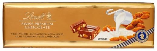 Шоколад Lindt Swiss premium молочный с миндалем