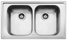 Врезная кухонная мойка smeg LE862-2 86.8х50.8см нержавеющая сталь