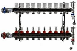 """Коллекторная группа Tim (KA010) 1"""", 10 вых., расходомер, воздухоотводчик, сливной кран, термометр"""
