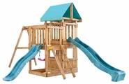 Домик Babygarden с балконом, закрытым домиков и двумя горками