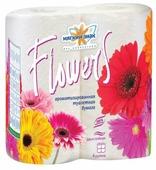 Туалетная бумага Мягкий знак Deluxe Flowers белая двухслойная