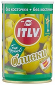 ITLV Оливки зеленые без косточки в рассоле, жестяная банка 300 г 314 мл