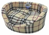 Лежак для кошек, для собак Бобровый Дворик с бортиком Шотландка светлая №1 42х35х16 см