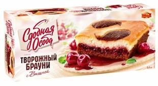 Пирог Сдобная особа Творожный брауни с вишней
