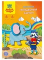 Цветной картон двусторонний Енот на острове Мадагаскар Полоски Мульти-Пульти, A4, 6 л., 6 цв.