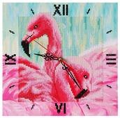 Color Kit Набор алмазной вышивки с часовым механизмом Грациозные фламинго (7303015) 30х30 см