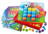 BeeZee Toys Мозаика большая Пуговицы 45 элементов, 12 трафаретов (М9А)