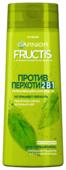 GARNIER Fructis шампунь Против перхоти 2в1 Укрепляющий c пиритионом Цинка и Зеленым чаем для всех типов волос