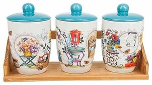 Nouvelle De France Набор банок для сыпучих продуктов Сад 0660064 3 шт.