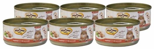Корм для кошек Мнямс с курицей, с говядиной 70 г (кусочки в желе)