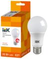 Лампа светодиодная IEK ECO 3000K, E27, A60, 20Вт