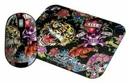 Мышь Ed Hardy Wireless mouse+pad Full Color Black USB