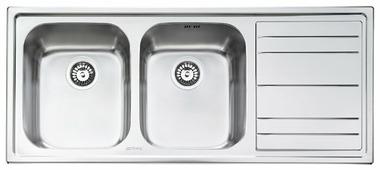 Врезная кухонная мойка smeg LE116D-2 116.8х50.8см нержавеющая сталь