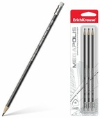 ErichKrause Набор чернографитных трехгранных карандашей с ластиком Megapolis 3 шт (43581)