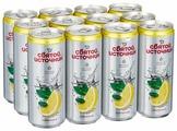 Вода питьевая Святой Источник газированная со вкусом лимона и мяты, алюминиевая банка