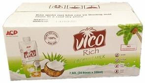 Кокосовый напиток ACP Vico Rich Coconut Milk 19%, 330 мл, 24 шт.