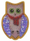 Созвездие Набор для вышивания крестом на основе Новогодняя игрушка Совушка 9 х 6 см (ИК-005)