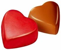 Конфеты Победа вкуса Сердечки с ореховым кремом красные, коробка