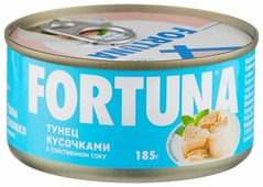 Fortuna Тунец кусочками в собственном соку, 185 г