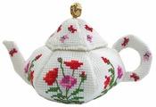 ZENGANA Набор для вышивания бисером и нитками Чайничек Маки 14 х 8 см (М-058)