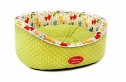 Лежак для кошек, для собак Родные места Премиум №1 Оливковый горошек с собачками 43х38х15 см