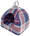 Домик для собак Бобровый Дворик Шотландка синяя 1 39х39х35 см