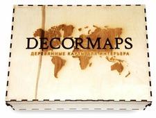 Панно Decormaps деревянная карта мира разноцветная, 3D