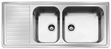 Врезная кухонная мойка smeg LG116S-2 116х50см нержавеющая сталь