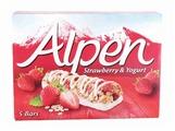 Злаковый батончик Alpen с яблоком, клубникой, йогуртом 5 шт 145 г