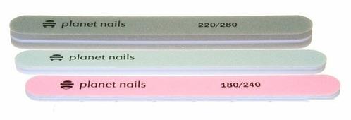 Planet nails Набор пилок 20256, 180/240/220/280 грит, 3 шт.