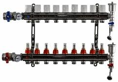 """Коллекторная группа Tim (KA009) 1"""", 9 вых., расходомер, воздухоотводчик, сливной кран, термометр"""