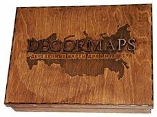 Панно Decormaps деревянная карта России, светлый дуб